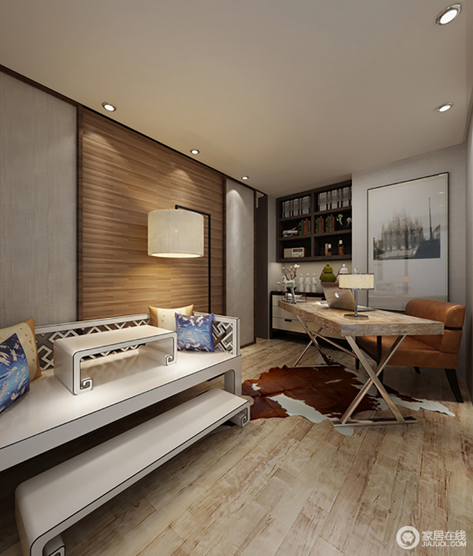 书房以简洁的表现形式来满足人们对空间的需要,原木地板和实木推拉门因为淡黄色而让空间升温;悬挂式书柜与边柜组合出实用性,现代的木桌与棕黄色皮椅镌刻着时尚,平衡出大气;新中式床榻的东方神韵因为干净的白色构成整个空间的亮点,俞显质感。