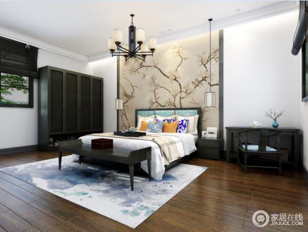 卧室最大的用处是用来休息,卧室不适用太过于暗的色调,所以房间的地板使用了看起来温柔的木地板,背景使用了暖色的图案,能让人情绪感到平静,也能好好的休息。