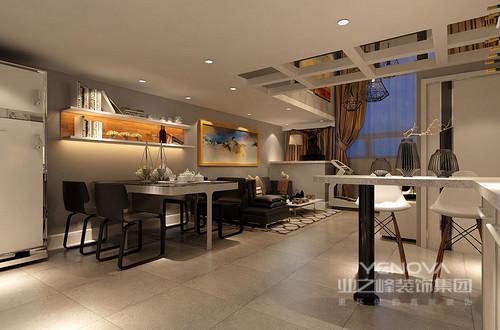 餐厅尽可能不用装饰和取消多余的东西,简单的设计,搭配黑白艺术,让空间更为时尚、实用。