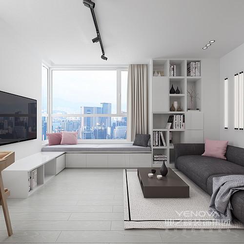 客厅虽然不大,但是飘窗定制化的设计为主人提供了一个放松、休闲的地方,同时,可以增加空间的实用性;旁侧地书柜带来一种文艺气息,让空间具有了收纳美学。