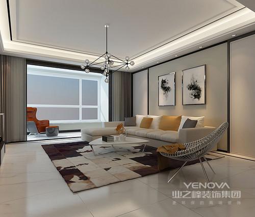 在这个三居的空间中,设计师以简约的设计语言为主,通过整洁凝练的线条和现代化的家具组合出颇具生活质感和时尚气息的空间。设计师通过化繁为简、型随机能,简单中求艺术,使设计变得简约而不简单。不管是地面采用仿大理石的亮白色瓷砖,还是墙面通过中性色调的板材、壁纸装饰,都让空间色调柔和、宽敞明亮,以精细的工艺和讲究地陈列艺术展现出温馨、舒适。除此之外,设计师也加入了一些跳跃的色彩元素,让家具的色彩和实用性装饰出不失活泼、温馨的生活空间。