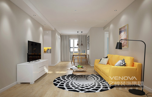 整体线条十分凝练,也并没有做造型和功能上的改动,开放式设计让客餐厅之间互动性增强,而浅灰色的墙面自带一种宁静感,让人心情平和;黄色沙发因为、抽象挂画、黑白圆毯表现出摩登,而白色电视柜、黑色落地灯以经典铸就实用哲学,与餐区的实木家具呈简美。