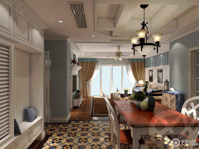 餐厅以白色为主,从吊顶到卡座以纯净之色,将空间的几何立体和收纳实用之法升华到了美学的高度;花砖从色调到造型为空间注入了异域时尚,跳跃着色彩魔力,而美式餐桌的质地,无疑让餐厅也更为精致。