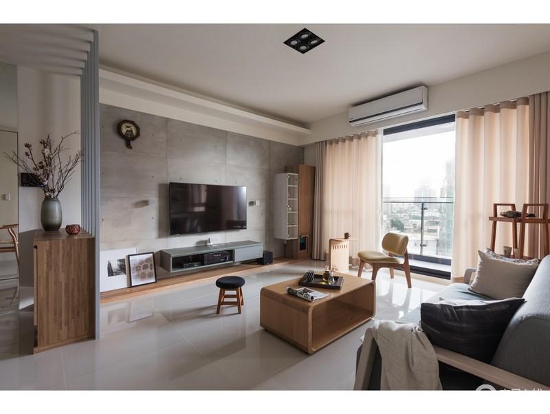 客厅白色的吊顶与灰色背景墙形成色彩反差,而原木家具的温和与白色纱幔让整个空间多了温馨。