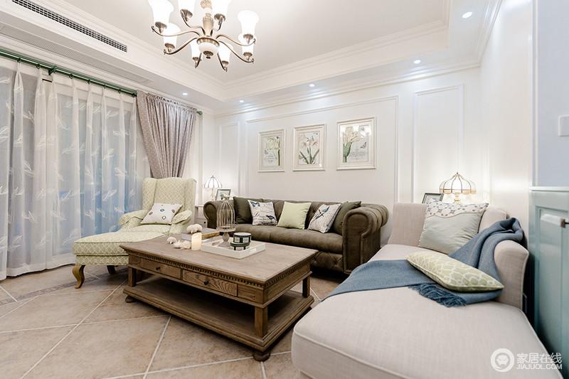 客厅将自然元素的挂画嵌入几何的石膏墙,在几何美学之中表达自然清韵;美式沙发以不同的造型和色彩,营造一种变化,并在实木茶几的陪衬中,张扬一种现代美式设计的和谐与端庄。