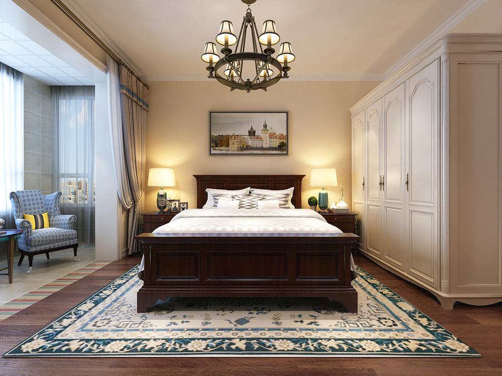 卧室线条规整简单,石膏踢脚处理加固了吊顶的边角,并与白色简美风的衣柜呈色彩呼应,让空间多了一丝白色纯洁;米色漆的墙面与褐色木地板渲染着和暖的气息,胡桃木美式家具和谐之中,因为绿色陶瓷底座的台灯和绿色花卉编织地毯构成自然朴素与清新;阳台处蓝色方块扶手椅与灰色窗帘构成优雅,减缓了仿古砖的古朴,让空间大气舒适而得体。