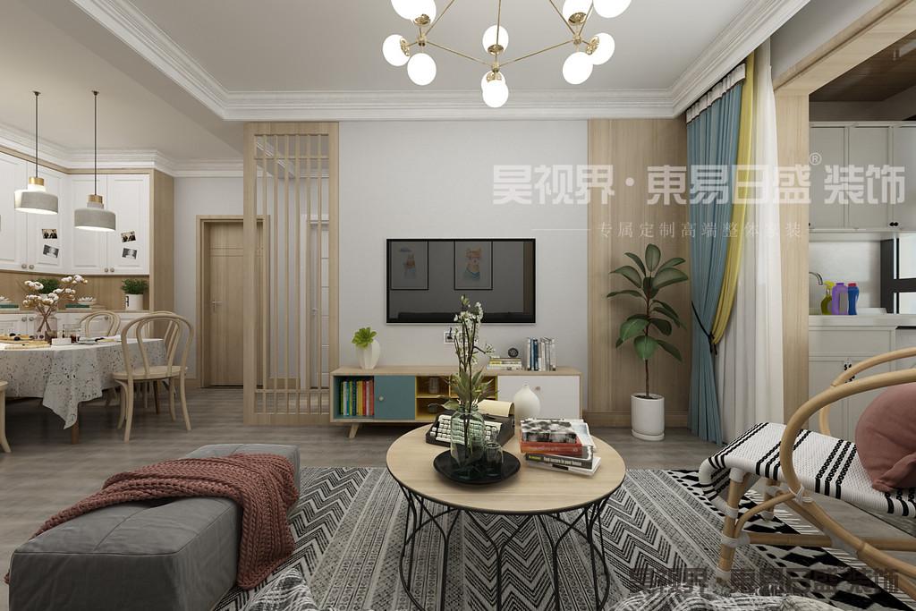 客厅墙面刷浅色墙漆,将美感发挥到极致,沙发背景墙没有过多复杂的装饰,深灰色布艺沙发,搭配条纹地毯,让客厅多了悠然自得的感受。