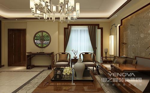 整体客厅米色的色调让整个空间十分和暖,从园林找那个汲取灵感,让墙面多了东方底蕴;中式实木家具组合,稳重而质感精良,凸显出中式博雅。