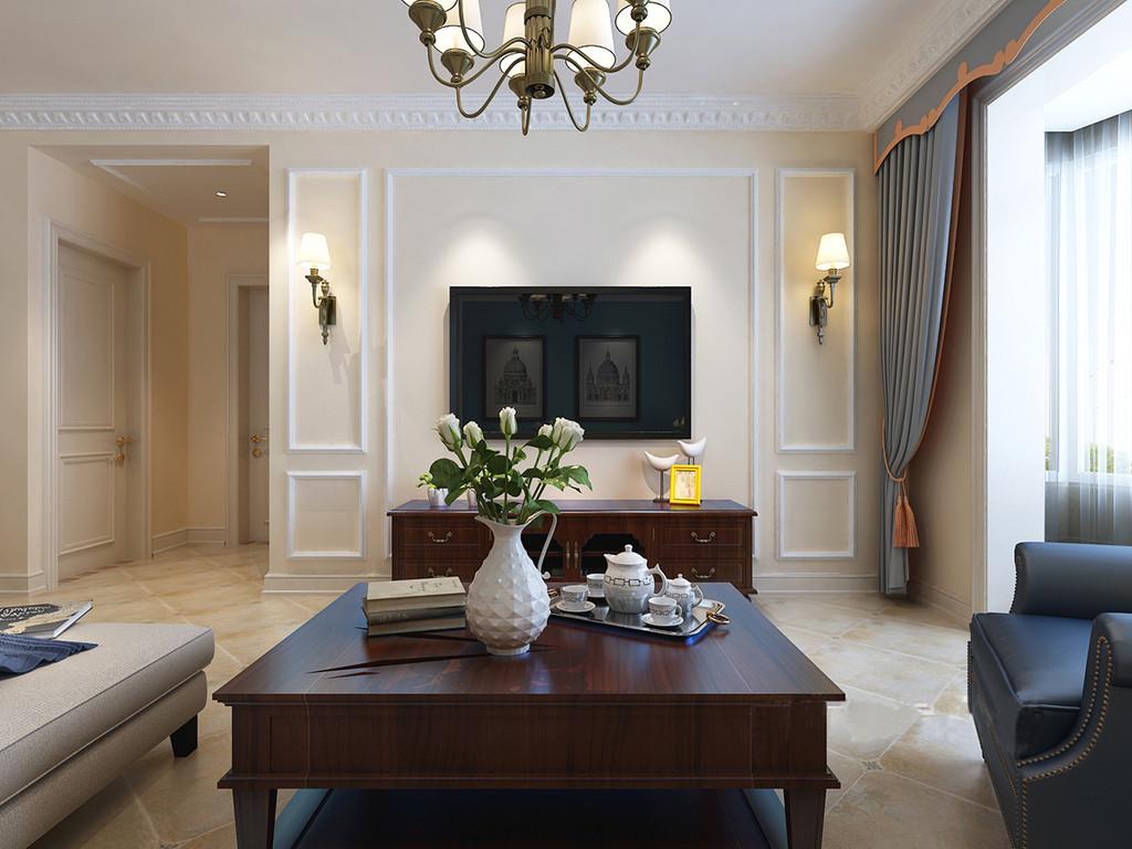 客厅的色调与整体空间的主调一致,以米色渲染温馨;背景墙因为石膏线强调几何效果,即使电视机悬挂在上也不显突兀,反而因为金属壁灯的对称设计多了精致感,实木电视柜和茶几也因对称让空间多了稳重。