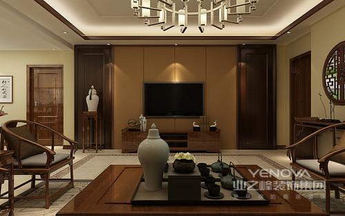 客厅的背景墙以棕黄色为主,线条之外,多了很多稳重的气息;中式博古架,更是与中式家具呼应,让你体味古朴。