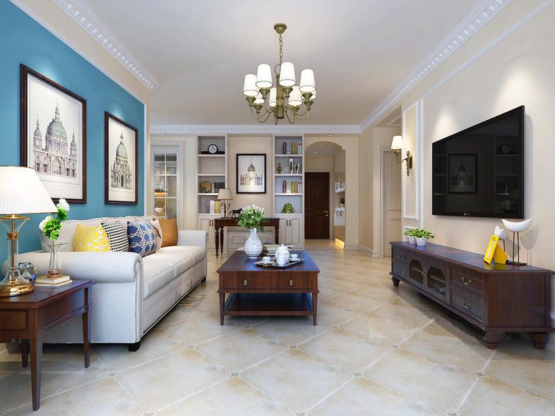 整个空间以米色为主调,设计师为了增加空间的实用性,将原本的走廊墙面做了重新规划,嵌入式收纳柜嵌入墙体,形成收纳艺术;墙面的图书和器物多了文艺气息,而美式实木桌几令生活展现出美式稳重。