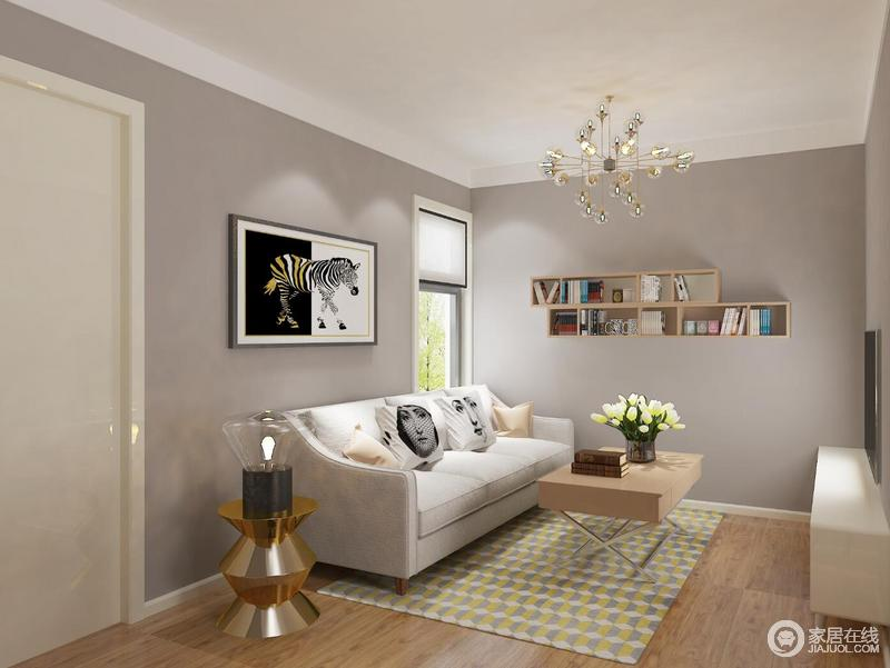沙发采用了北欧风常用的灰色布艺沙发,以枕头作为点缀色,为空间增添了一丝亮点。四周墙刷成了灰色,让整个空间显得更加干净。
