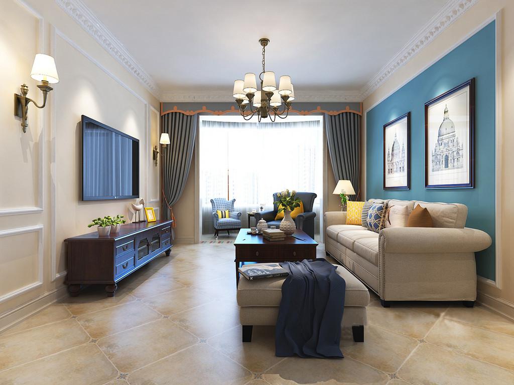 客厅以米色墙面与仿古砖呼应,让空间古朴之余,更显得体;蓝色漆的沙发背景墙因为宫堡壁画多了岁月的痕迹,驼色美式铆钉沙发和蓝色扶手椅组成现代美式时尚,浅蓝色窗帘、彩色靠垫增添色彩之余,因器物的点缀,更为别致。