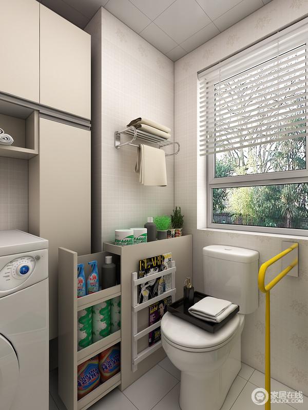 在马桶边安置一个便捷的书刊架可以提供如厕者在如厕时消磨时间,书刊架占用空间率几乎为零。