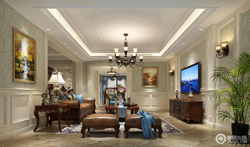客厅的石膏吊顶以几何造型将现代和复古元素兼并起来,并借嵌入式灯带来营造通明;浅绿色浮雕壁纸清新中裹挟着精奢,让古典造型的石膏墙更为典雅,咖褐色皮质沙发和精雕地实木柜组成古典美式的稳重和尊贵,而铁艺灯具组合添置了一抹美式的仿旧之美,平衡出空间的尊贵。