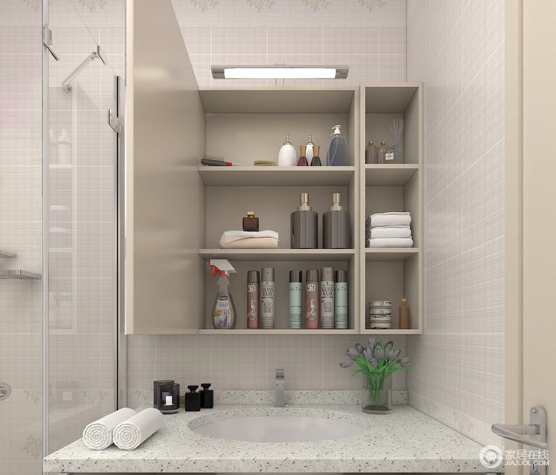 吊柜:开放格+镜柜可放置经常使用的物品如老人的皮肤护理品假牙护理套装、肥皂牙具等。