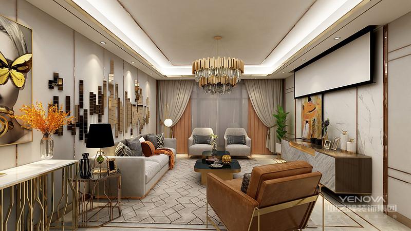 现代中式风格的设计也遵循着对称性的家具摆放,同时在古典形式的家具中采用现代感的设计形式,得以体现出时尚、简约的设计形式。比如吧玻璃搭在榆木架子上制成中式餐桌就非常受年轻人的喜爱,这样的设计也体现出现代感的创新设计。