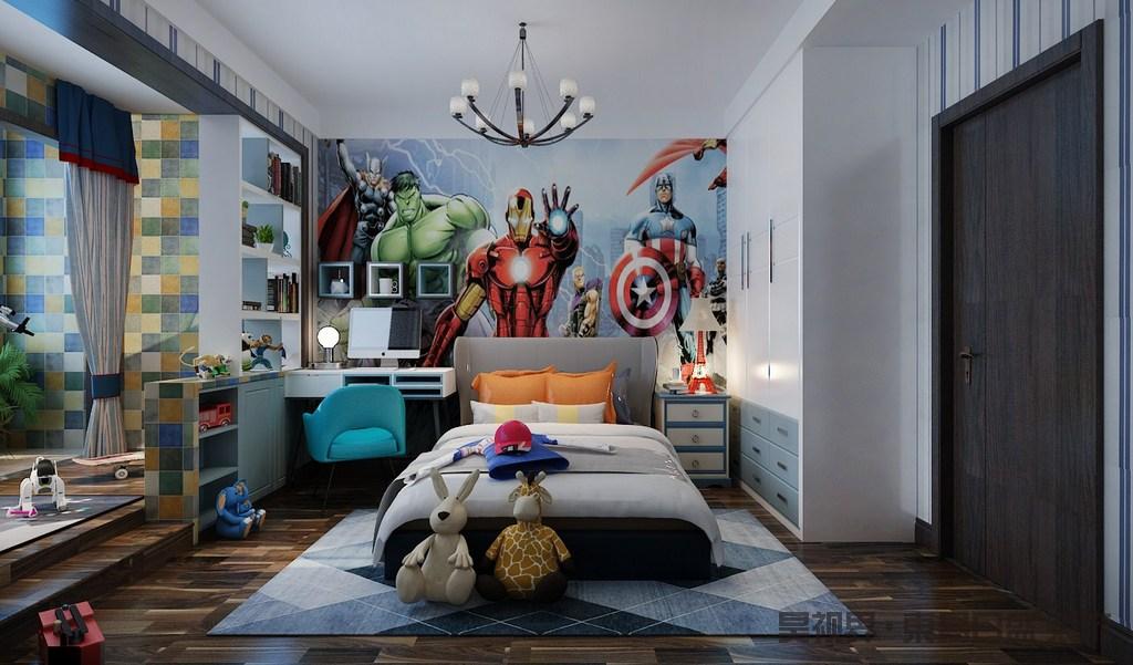 儿童房巧妙地将休息区和游戏区分开,休息区以蓝白色壁纸装饰,并搭配卡通画壁纸,营造一个游戏感的空间;白色书桌和床头柜与悬挂地几何小柜搭配出实用哲学,而借墙体打造得书柜收纳之余,巧妙分隔空间;蓝色地毯与白色床品搭配出清新,并因为玩饰显得调皮;游戏区绿色、黄色和蓝色拼接的砖石,与清新注入了生机感。
