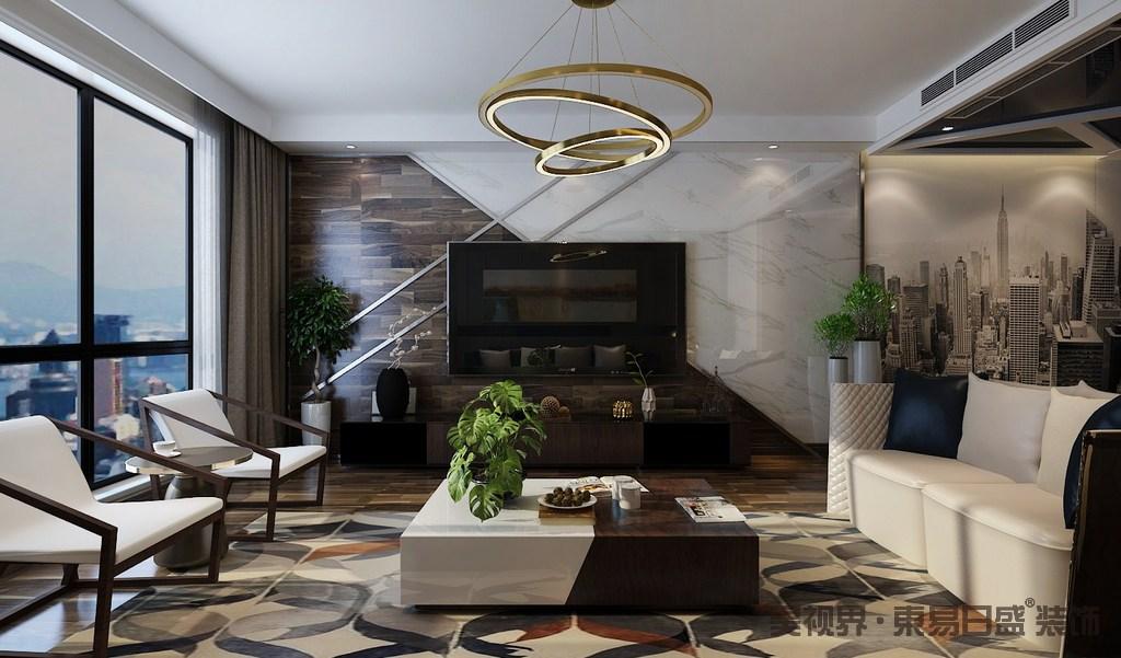 客厅的背景墙采用实木和大理石拼接的方式,讲述自然原始带来的别致;原木地板因为几何地毯多了艺术动感,黄铜圈形吊顶给予空间奢华,反衬着实木家具的简约时尚,让空间尤为得体大气。