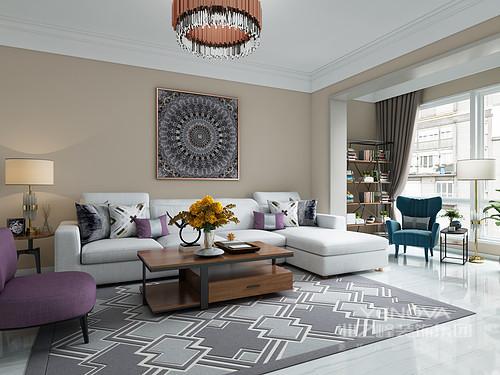 以暖色调为主的客厅,紫色单人沙发做为点缀,跳色的使用让室内整个空间内不沉闷,反而,增添时尚气息;原木色的茶几、边几增加了几分自然的气息,又解决了客厅的收纳,灰色几何地毯,让空间的艺术感顿生