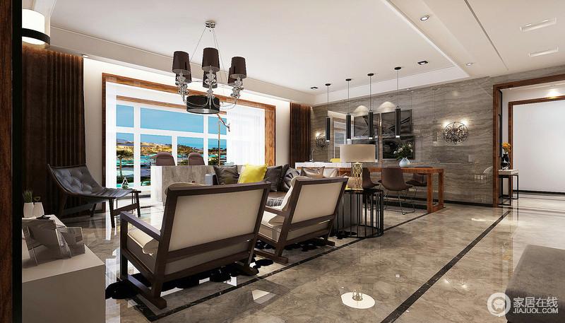 客厅因为灰色砖石的灰色调奠定硬朗和朴素,让人在家里感受沉寂;矩形和线条的黑色调点缀,让地面显出线性之美;除了实木沙发之外,欧式吊灯和简约吊灯、壁灯以光影造就温馨。
