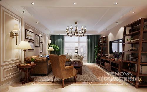客厅墙面采用杏色打底,简洁精致的石膏线勾勒出装饰感,挂画点缀文艺气质,映衬着复古色调的沙发组,土红色的地面形成色调上的延展,突显出电视墙置物柜的朴拙;蓝色的窗帘,彰显出清爽的气息。