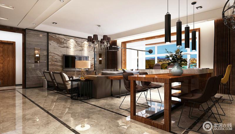 客餐厅以灰色砖石塑造沉稳,并因砖石的文脉令空间通透而朴质,电视墙以大地灵气将木板上的抽象设计凸显出灵气,共生自然之美;棱角分明的木餐桌因为咖色简约铁艺椅和圆筒吊灯显出精致,并以时尚元素让功能性设计以现代品质铸就舒适生活。