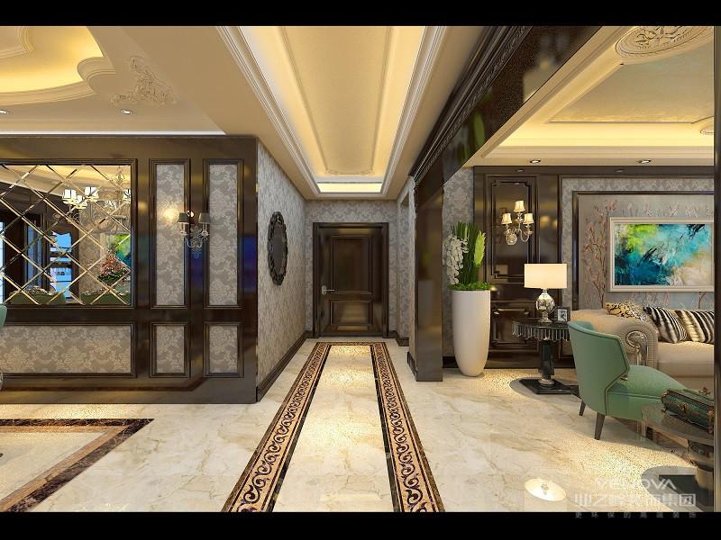 入户走廊连接两厅,同时又以黑金花粗线结合灰白大理石垭口,与两厅划分区域;地面拼花宛如地毯般延展至背景墙,同样石材中内嵌橘黄硅藻泥,与黑金边几对比碰撞.