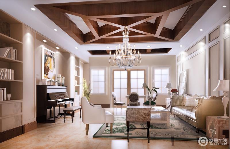 休闲室中以震撼的配色,让中性色尽显无形的魅力;实木几何吊顶层层之间紧密衔接,更新了美式设计的陈旧;而驼色调的立面让整个空间十分宁静,与乳白色的现代美式家具搭配出优雅,温逸而优雅。