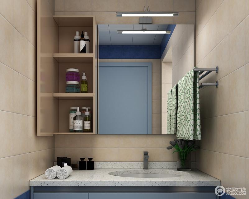 吊柜:开放格+镜柜的设计可放置经常使用的物品如皮肤护理品假牙护理套装、肥皂牙具等。方便拿取使用。