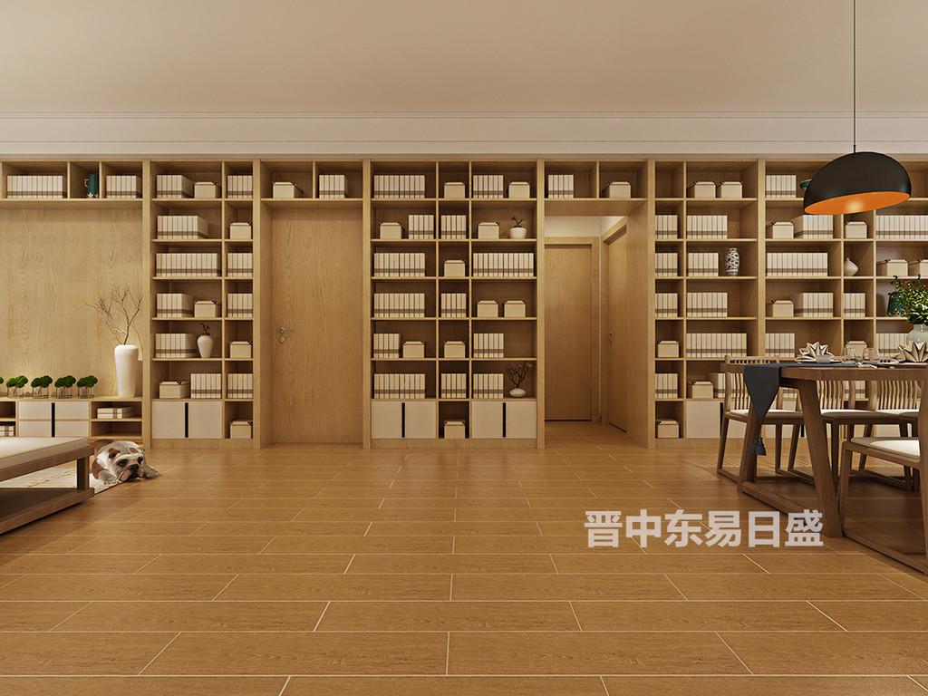 色调以白色和木色相映,用现代的手法诠释传统东方的精神,大体量的书架采用对称但又不一致的方式,不失灵动之美。