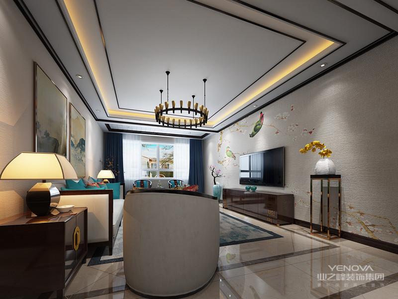 """新中式风格的空间装饰多采用简洁硬朗的直线条。直线装饰在空间中的使用,不仅反映出现代人追求简单生活的居住要求,更迎合了中式家具追求内敛、质朴的设计风格,使""""新中式""""更加实用、更富有现代感"""