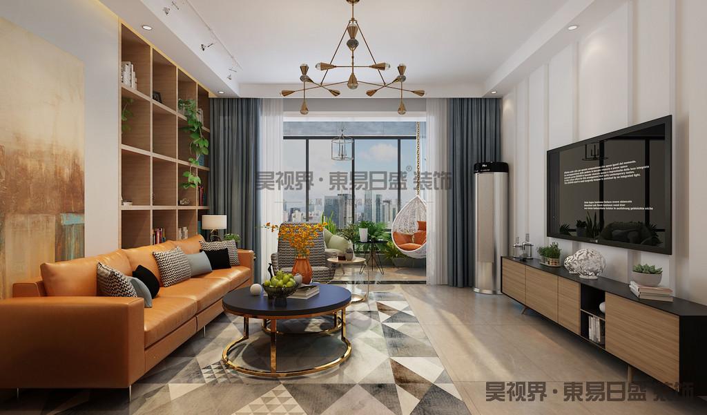 干净的的布艺沙发,圆形的铁艺茶几,简约的餐桌椅,构筑成几何美感,安详和睦。