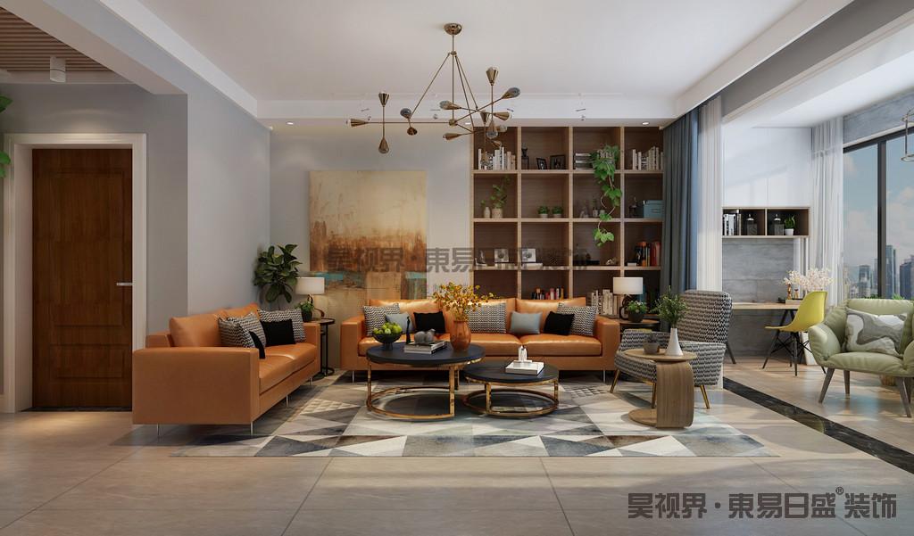 沙发背后的原木书架、是空间的亮点,原木线条环保自然,型挂画吸引眼球。