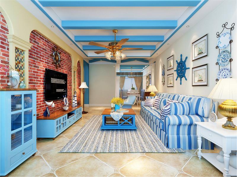 整个房间整体采用地中海的蓝与白,可以让居住者感受到心旷神怡,舒适放松。