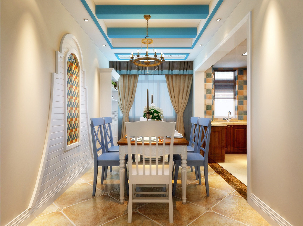 餐厅的餐椅采用蓝白相间的条形图案,与地中海风情交相辉映。