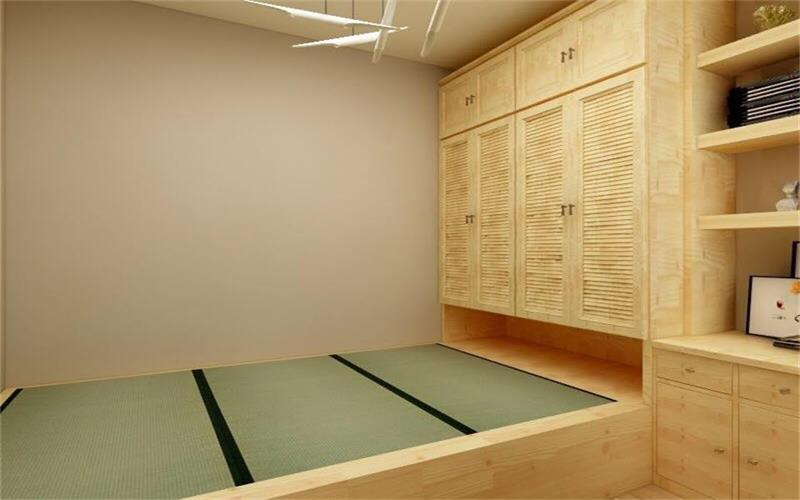 整个空间做了淡黄色的榻榻米,墙面采用了与之呼应的色系,在设计上更加强调功能,强调结构和形式的完整