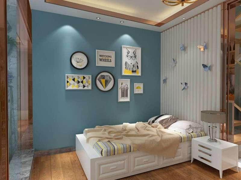 桂林百年薈?城市廣場樣板房復式120㎡現代輕奢風格:主臥室裝修設計效果圖
