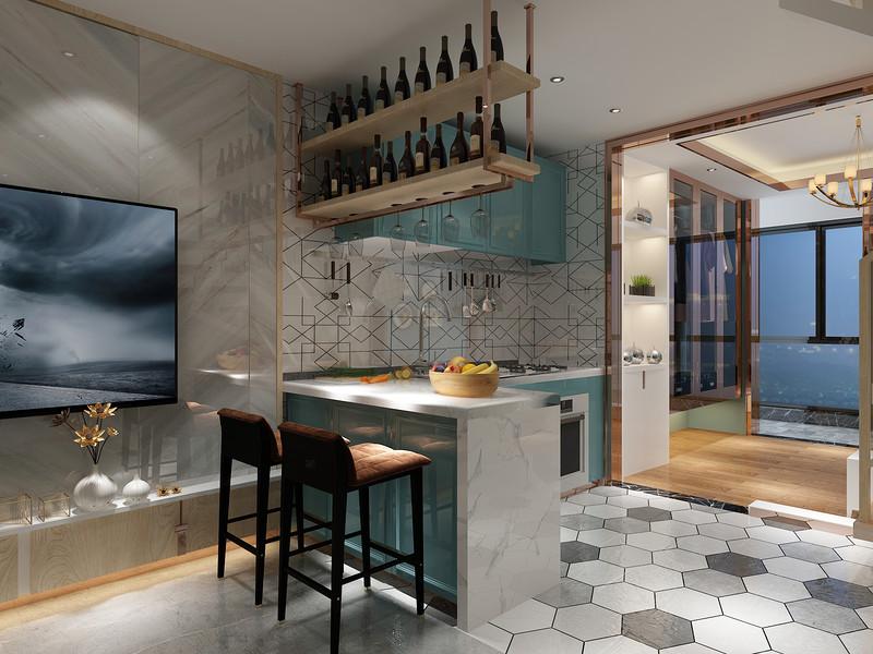桂林百年薈?城市廣場樣板房復式120㎡現代輕奢風格:廚房餐廳裝修設計效果圖
