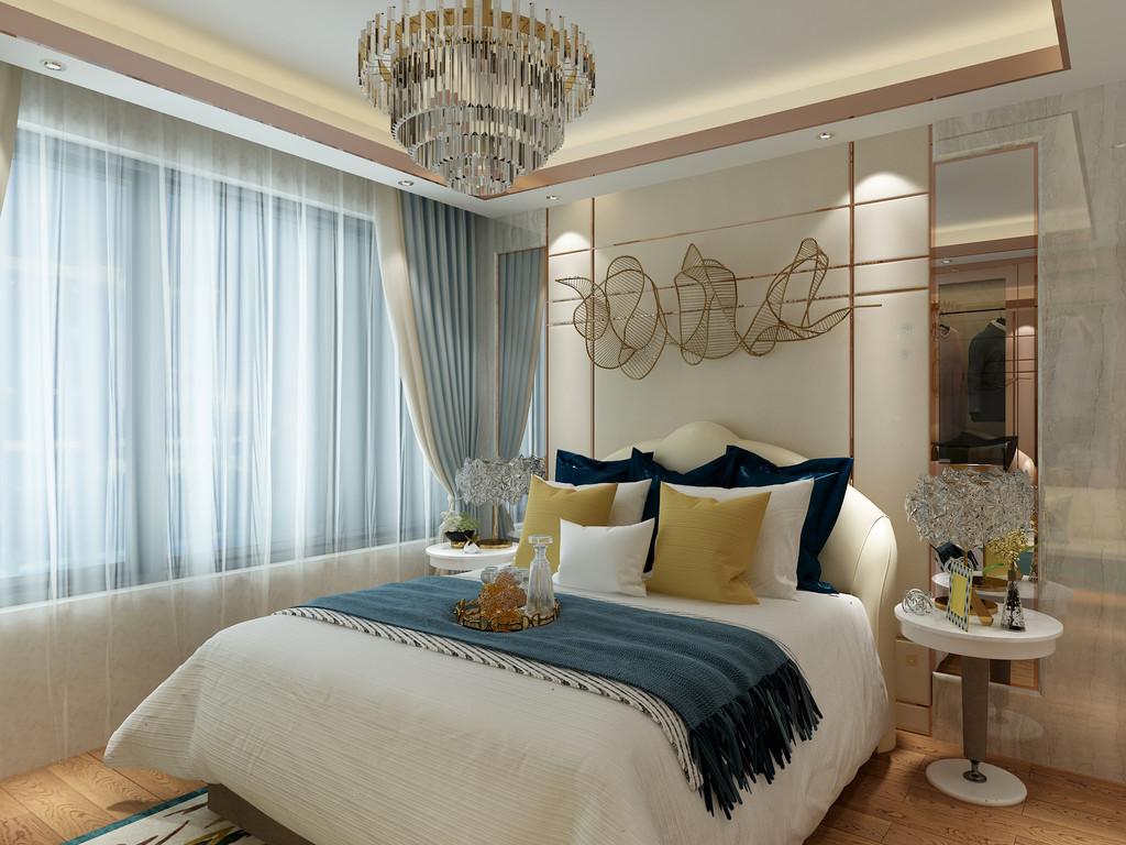 桂林百年荟•城市广场样板房复式120㎡现代轻奢风格:次卧室装修设计效果图