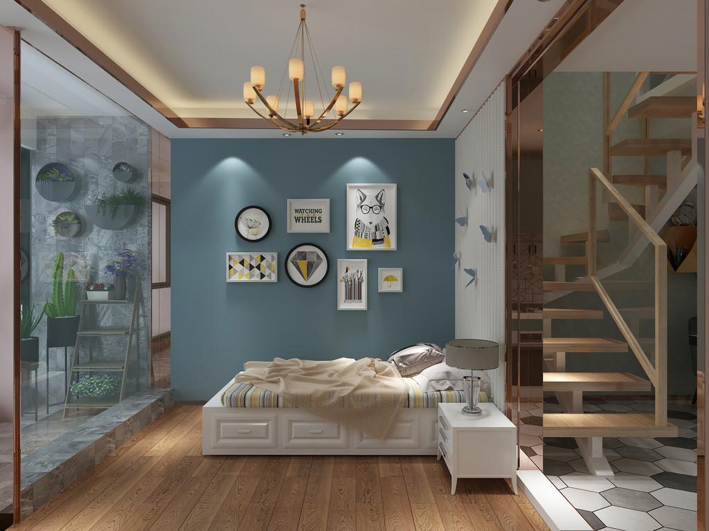 桂林百年荟•城市广场样板房复式120㎡现代轻奢风格:主卧室装修设计效果图(侧视)