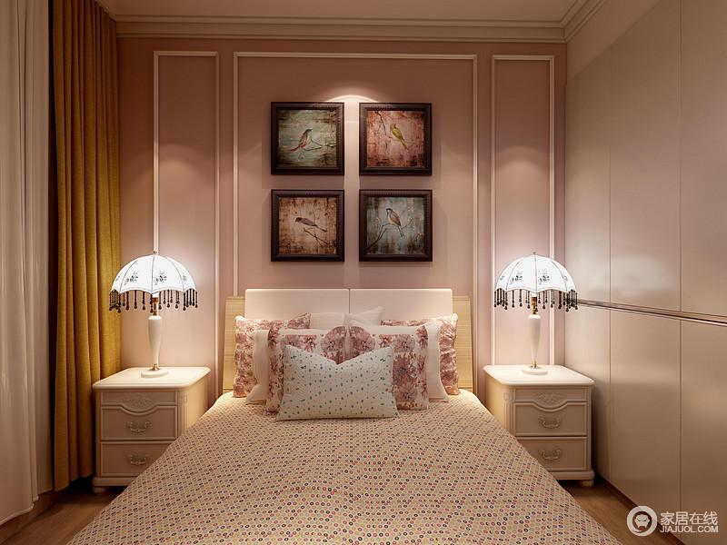 儿童房以淡粉色为基调,并借彩色的挂画组合来营造空间的色彩幻趣;白色的床品与床头柜相呼应,更显纯净,而简欧圆顶式台灯带来复古轻奢,尽显造型美学。