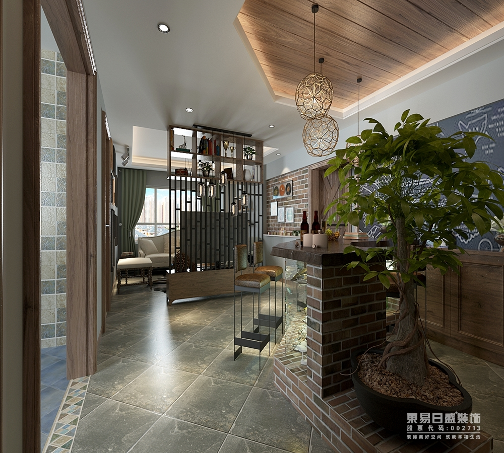 隔断屏风的作用在于对空间的划分,同时起到一定的私密性营造;电视墙划分了客厅与走廊区域,从客厅延展开的粗糙砖墙呼应着吧台墙体结构,与原木风组合出自然气息。