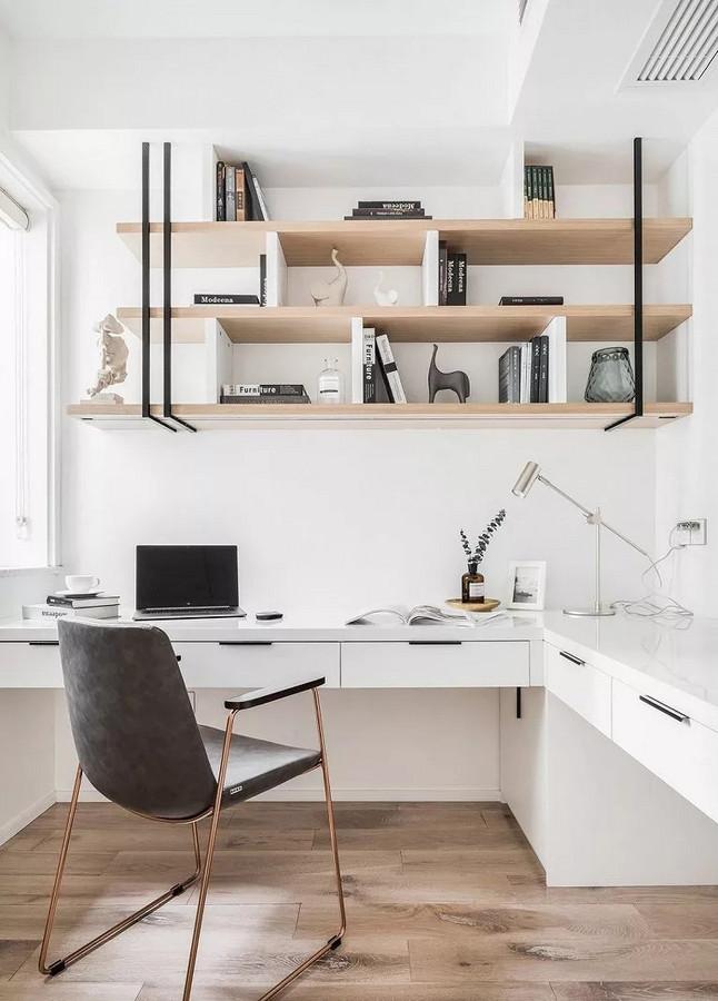 书房南北向都有窗户,采光好,借用户型打造适合双人使用的L型桌面,实用性很高。