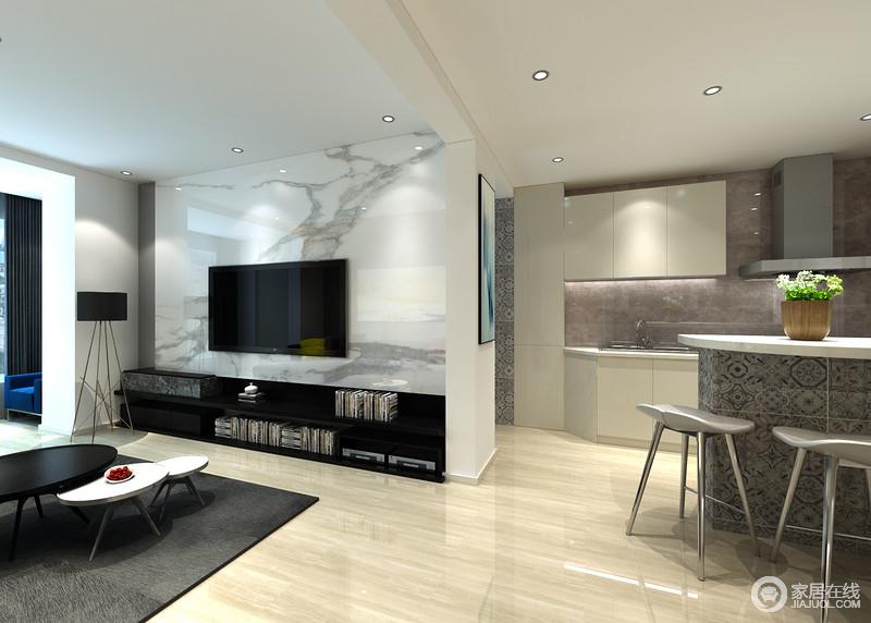 客厅以黑白之配来演绎抽象艺术,沙发墙的灰色,与大理石的白色自然之韵对比出简约之美;电视柜和电视机的黑色与背景墙延续了黑白经典,对比出层次之美,并以收纳设计尽显小文艺。