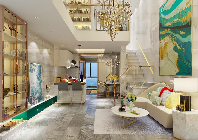 桂林百年荟•城市广场公寓120㎡现代轻奢风格:客厅装修设计效果图