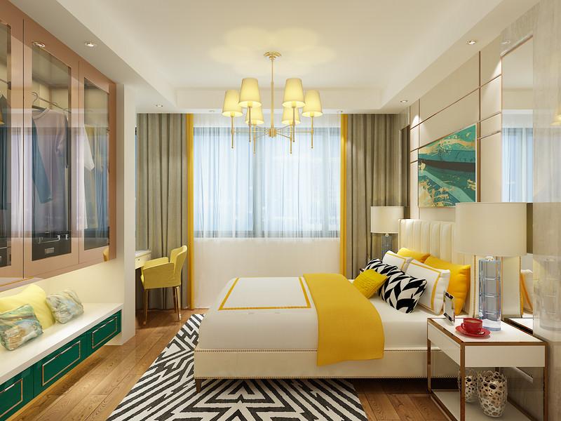 桂林百年荟•城市广场公寓120㎡现代轻奢风格:主卧室装修设计效果图