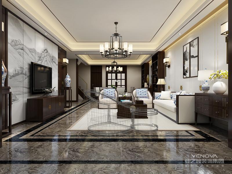 住宅中式设计时,设计师都会为住宅选择简洁、硬朗的线条设计,中式设计虽然在图案上要求精致,但是在装修结构的线条上追求简洁,而且多样式的线条可以使空间显得有层次感。