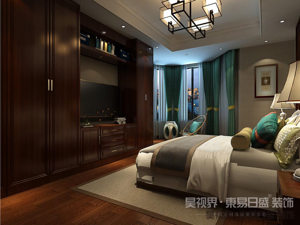 床头搭配中式挂画,精细的工艺品加以摆放,更显文化韵味和独特的风格。