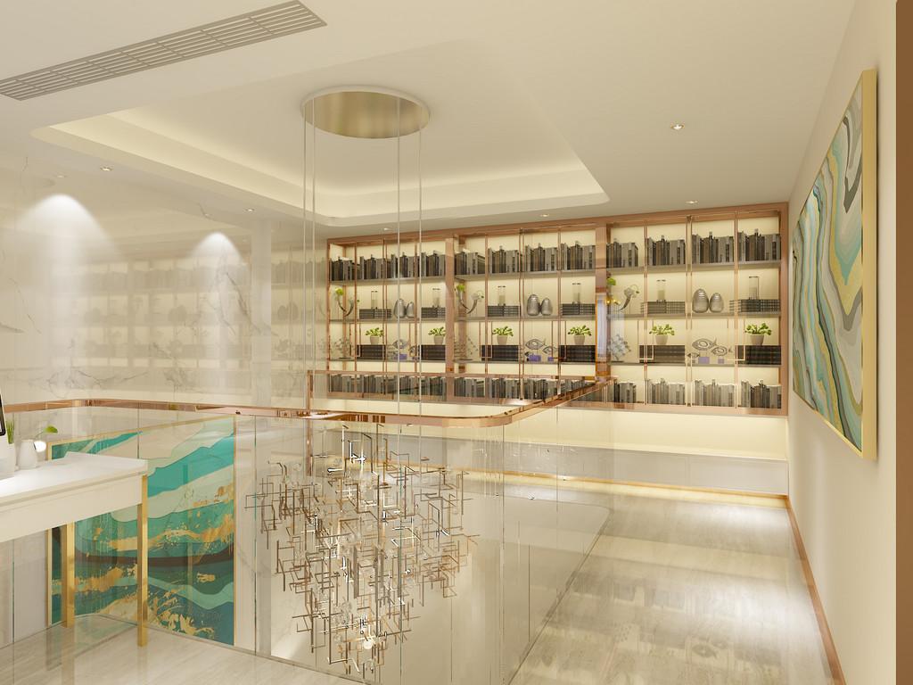 桂林百年荟•城市广场公寓120㎡现代轻奢风格:楼梯装修设计效果图